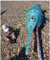 Paper Mache animal on beach